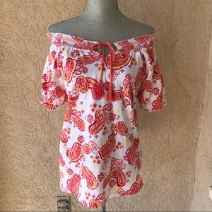 On or Off The Shoulder Top Paisley Print Cotton M